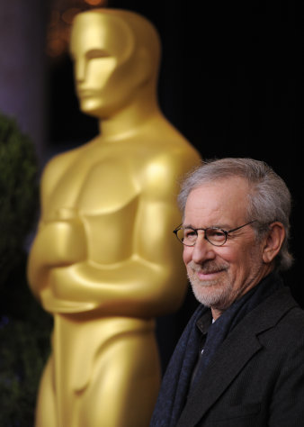 "Steven Spielberg, nominated for directing and best picture for ""Lincoln,"" arrives at the 85th Academy Awards Nominees Luncheon at the Beverly Hilton Hotel on Monday, Feb. 4, 2013, in Beverly Hills, Calif. (Photo by Chris Pizzello/Invision/AP)"