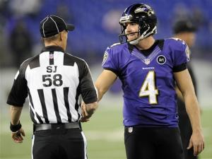 NFL refs back; Ravens lead Browns 23-10 after 3