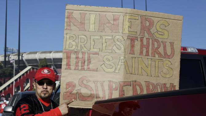 A San Francisco 49ers fan is shown before an NFL divisional playoff football game between the San Francisco 49ers and the New Orleans Saints, Saturday, Jan. 14, 2012, in San Francisco.  (AP Photo/Paul Sakuma)