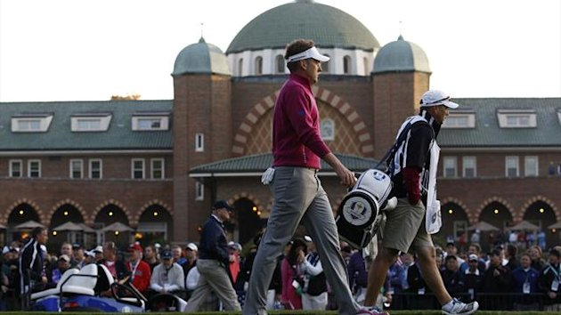 Ian Poulter walks in front of the Medinah clubhouse at the 2012 Ryder Cup