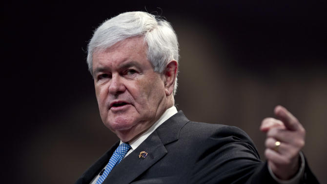 Republican presidential candidate, former House Speaker Newt Gingrich, speaks during a visit to First Redeemer Church on Sunday, Feb. 26, 2012 in Cumming, Ga.  (AP Photo/Evan Vucci)