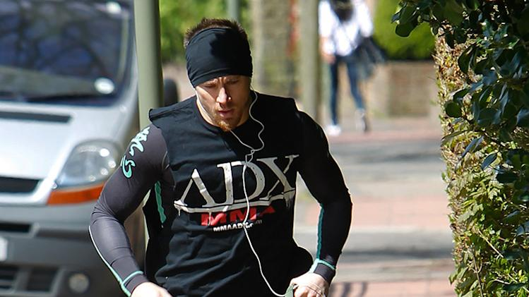 Channing Tatum goes jogging with his pet dog in London