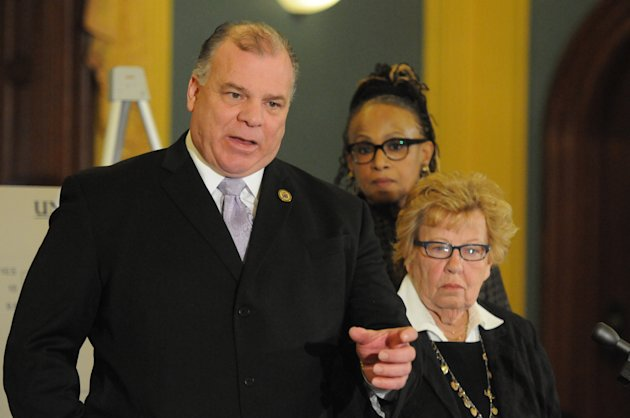 New Jersey Senate President Stephen Sweeney talks at a press conference in the New Jersey Statehouse on Monday, Jan. 7, 2012, to offer the Democratic view of the State of the State, in advance of Governor Chris Christie's State of the State speech to be delivered on Jan. 8. At center,back, is Sen. Nia Gill, Senate President Pro Tem; with Sen. Loretta Weinberg, Senate Majority Leader. (AP Photo/Curt Hudson)