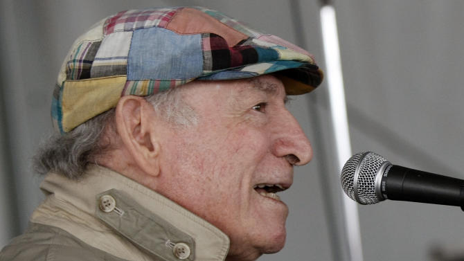 FILE - In this Aug. 9, 2009 file photo, Newport Jazz Festival founder George Wein speaks during the festival in Newport, R.I. Wein introduced his Newport All-Stars band at the festival in 1954, and is scheduled to perform with the latest edition of the band 60 years later on the festival's closing day Sunday, Aug. 3, 2014, at Fort Adams Park. (AP Photo/Joe Giblin, File)