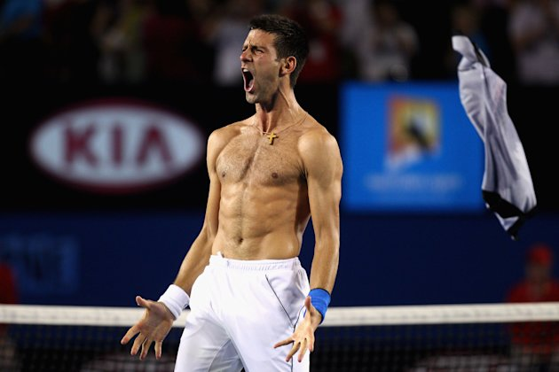 Novak Djokovic of Serbia celebrates after victory in his men's singles final match against Rafael Nadal of Spain on the twelfth day of the Australian Open tennis tournament in Melbourne early January 
