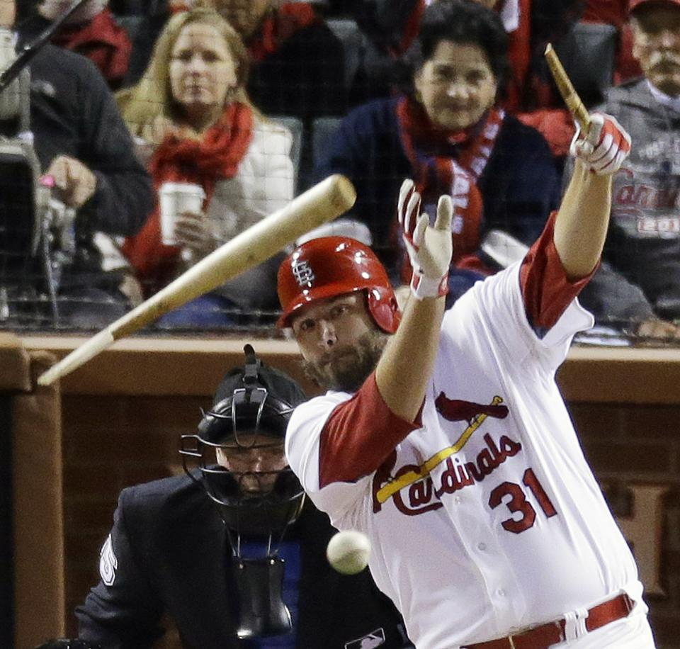 St. Louis Cardinals' Lance Lynn breaks his bat as he hits into a double play during the second inning of Game 5 of baseball's National League championship series against the San Francisco Giants, Friday, Oct. 19, 2012, in St. Louis. (AP Photo/Mark Humphrey)