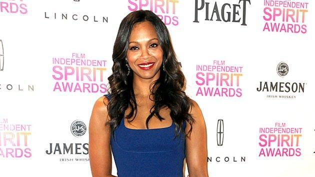 Zoe Saldana was all smiles upon arriving at the Indie Spirit Awards press conference, where she announced this year's nominees alongside Anna Kendrick and Common. Yes, her cobalt-blue Preen dress was a bit plain, but there's no denying the hotness of her gold Rupert Sanderson heels. (11/27/2012)
