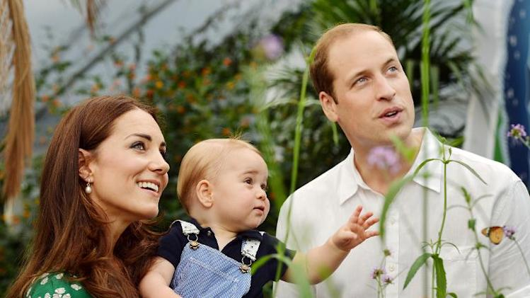Prince William, Catherine, Duchess of Cambridge celebrate with Prince George at London's Natural History Museum on July 2, 2014 ahead of the baby's first birthday
