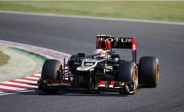 Lotus formula one driver grosjean of france drives during the