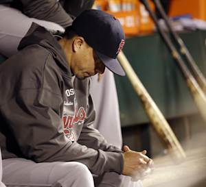 St. Louis Cardinals starting pitcher Kyle Lohse sits on the bench during the fourth inning of Game 7 of baseball's National League championship series against the San Francisco Giants Monday, Oct. 22, 2012, in San Francisco. (AP Photo/David J. Phillip)