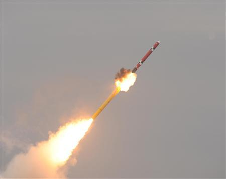 A South Korean navy submarine launches an indigenous cruise missile during a drill at an undisclosed location