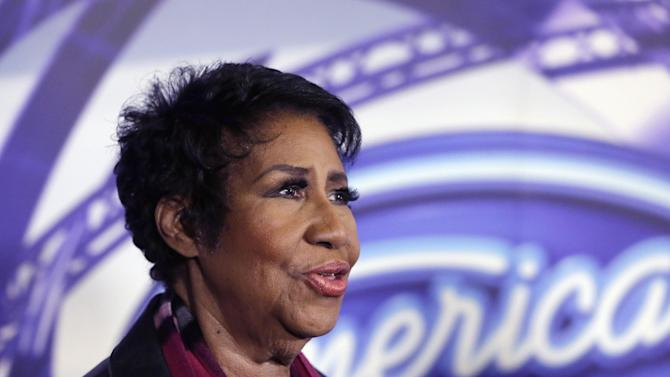 "FILE - In a March 4, 2015, file photo, singer Aretha Franklin is interviewed after a taping for American Idol XIV at The Fillmore Detroit. A federal judge in Denver on Friday, Sept. 4, 2015, blocked the scheduled screening at the Telluride Film Festival of the film ""Amazing Grace,"" which features footage from 1972 of a Franklin concert, after the singer objected to its release. (AP Photo/Carlos Osorio, File)"