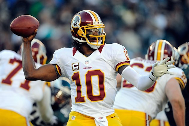 PHILADELPHIA, PA - DECEMBER 23: Robert Griffin III #10 of the Washington Redskins throws a pass against the Philadelphia Eagles during a game at Lincoln Financial Field on December 23, 2012 in Philadelphia, Pennsylvania. (Photo by Patrick McDermott/Getty Images)