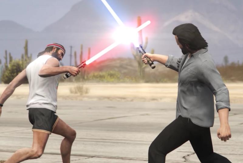 Grand Theft Auto 5 is better with lightsabers