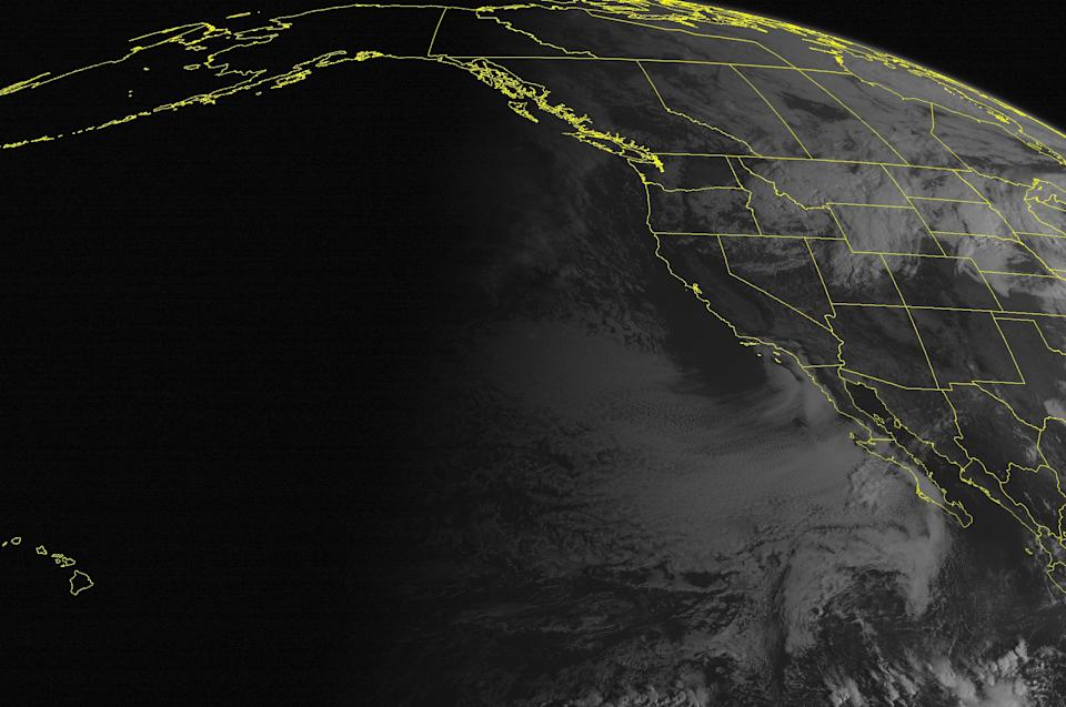 This NOAA satellite image taken Thursday, October 03, 2013 at 11:00 AM EDT shows a developing storm in the Northern Rockies is generating clouds with rain showers and snow across the Upper Mississippi Valley and Northern and Central Plains into the Northern Rockies and Intermountain West. Fair conditions exist across the remaining regions. (AP PHOTO/WEATHER UNDERGROUND)