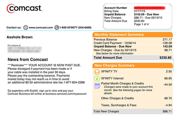 Comcast apologizes for changing customer's billing name to profanity