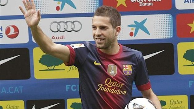 Jordi Alba en su presentacin con el Barcelona