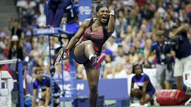 Williams of the U.S. celebrates after defeating Mattek-Sands of the U.S. during their match at the U.S. Open Championships tennis tournament in New York