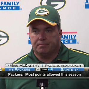 Green Bay Packers head coach Mike McCarthy on adjusting to quarterback Aaron Rodgers' injury