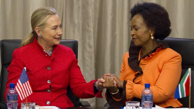 CORRECTS MEETING TO US-SOUTH ARFRICA STRATEGIC DIALOGUE--U.S. Secretary of State Hillary Rodham Clinton meets with South Africa's Foreign Minister Maite Nkoana-Mashabane at the US-South Africa Strategic Dialogue in Pretoria, South Africa, on Tuesday, Aug. 7, 2012. (AP Photo/Jacquelyn Martin, Pool)