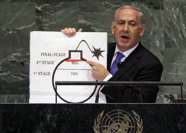 Prime Minister Benjamin Netanyahu of Israel shows an illustration as he describes his concerns over Iran&#39;s nuclear ambitions during his address to the 67th session of the United Nations General Assembly at U.N. headquarters Thursday, Sept. 27, 2012.(AP Photo/Richard Drew)