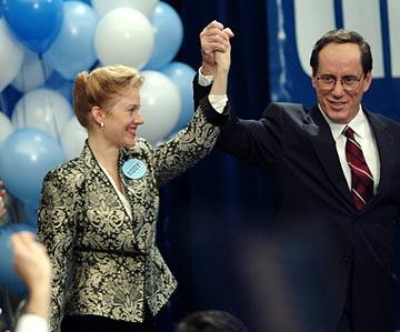"Penelope Ann Miller as Donna Hanover and James Woods as Rudy Giuliani in USA Network's ""Rudy"""