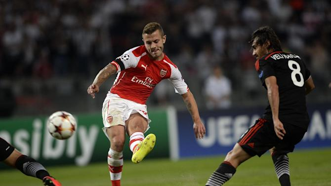 Arsenal's Jack Wilshere (C) kicks the ball during a UEFA Champions League play-off match against Besiktas in Istanbul, August 19, 2014