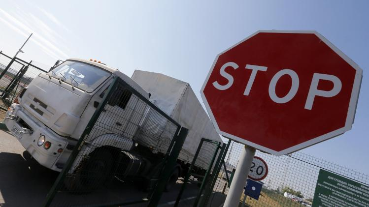 "A truck from a convoy that delivered humanitarian aid for Ukraine moves back to Russia at border crossing point ""Donetsk"" in Russia's Rostov Region"