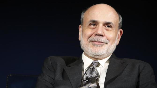 Bernanke sits for an onstage interview at the National Economists Club annual dinner at the U.S. Chamber of Commerce in Washington