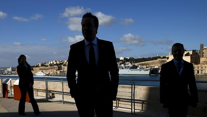 Britain's Prime Minister Cameron arrives at the Leaders Retreat at Fort St Angelo  during the Commonwealth Heads of Government Meeting (CHOGM) in Vittoriosa