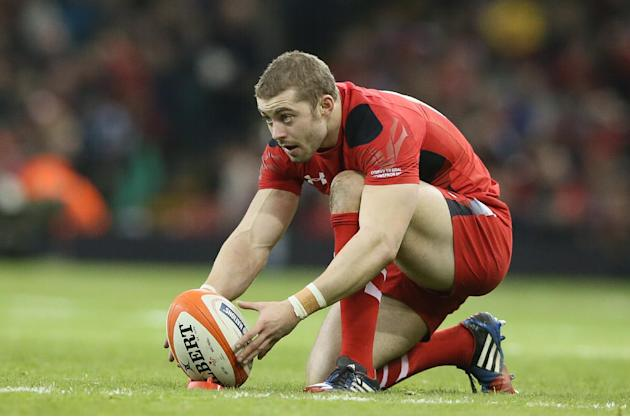 Wales's Leigh Halfpenny lines up a penalty kick during their Six Nations international rugby union match between Wales and Italy at the Millennium stadium in Cardiff, Wales, Saturday, Feb. 1, 2014