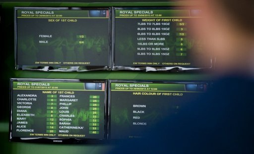 Screens list the odds on the gender, weight, name and hair colour of Britain's royal baby at a bookmakers in London on June 27, 2013. Punters around the world are betting on a girl called Alexandra to be born, well, any day now