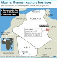 "Map locating gas field attacked by self-proclaimed Al-Qaeda gunmen. Algerian troops have surrounded Islamist gunmen who seized 41 hostages in a raid on a gas field as Britain's foreign minister Thursday condemned the ""cold-blooded murder"" of a Briton in the attack"
