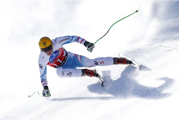 Franz of Austria competes during the Alpine Skiing World Cup men's downhill competition in Kvitfjell