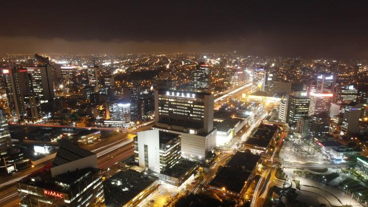 The financial center of San Isidro's district is seen from the top of a building in Lima