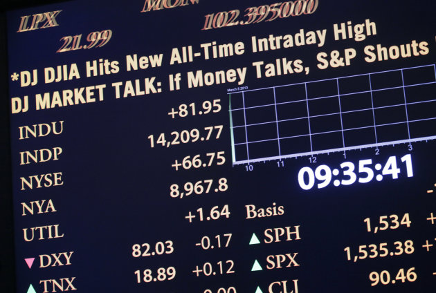 A stock ticker shows a new intraday high for the Dow Jones industrial average at the New York Stock Exchange, Tuesday, March 5, 2013 in New York. The average jumped nearly 100 points early Tuesday, re
