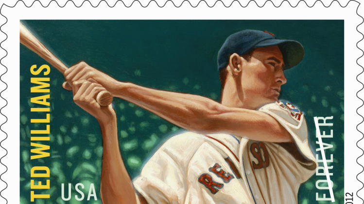 """This undated handout image provided by the US Postal Service shows a forever stamp featuring baseball hall-of-famer Ted Williams of the Boston Red Sox, part of the Major League Baseball All Stars"""" commemorative Forever stamps set, that will be released in July 2012. (AP Photo/USPS)"""