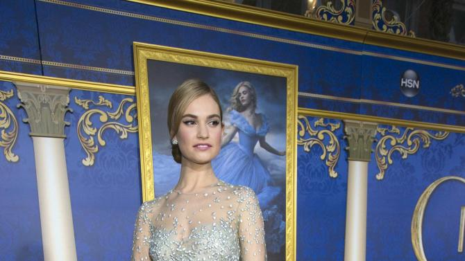 "Cast member Lily James poses at the premiere of ""Cinderella"" at El Capitan theatre in Hollywood"