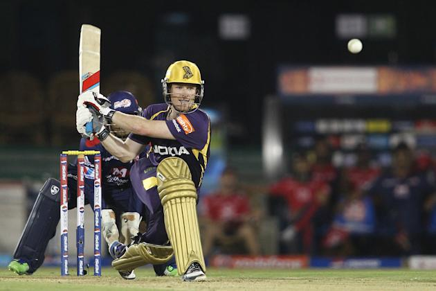 Eoin Morgan of Kolkata Knight Riders attempts to reverse sweep a delivery during match 44 of the Pepsi Indian Premier League between The Delhi Daredevils and the Kolkata Knight Riders held at the Chha