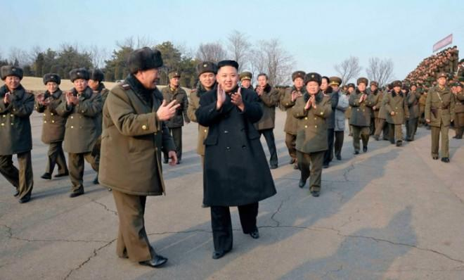 North Korean leader Kim Jong-Un claps after inspecting the army's artillery firing drill on Feb. 26.