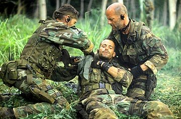 Paul Francis , Johnny Messner and Bruce Willis in Columbia's Tears of the Sun