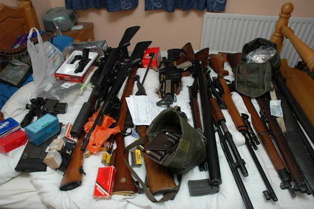 Guns seized by police at Karl Dowling's home in Ipswich
