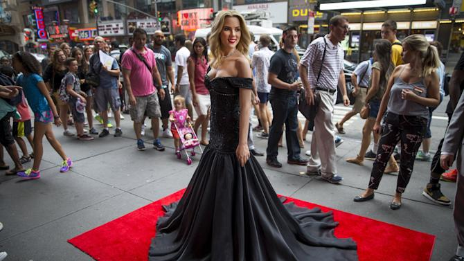 A wax figure of U.S. actress Johansson stands outside Madame Tussauds New York attraction shortly after the figure was unveiled in Times Square in New York