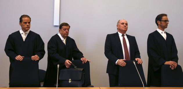 Bayern Munich President Hoeness arrives for the third day of his trial for tax evasion at the regional court in Munich