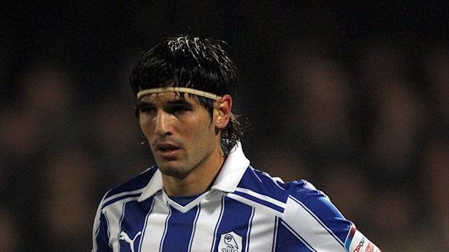 Sheffield Wednesday's Miguel Llera, pictured, appeared to manhandle referee Andre Marriner