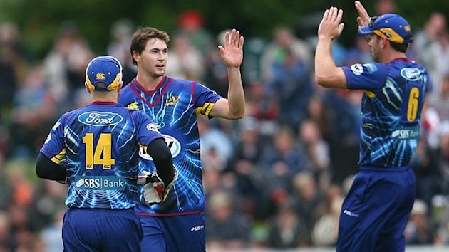 James Fuller (C) celebrates after taking a wicket during the HRV T20 Final match between the Otago Volts and the Wellington Firebirds at University Oval on January 20, 2013 in Dunedin, New Zealand (Getty Images)