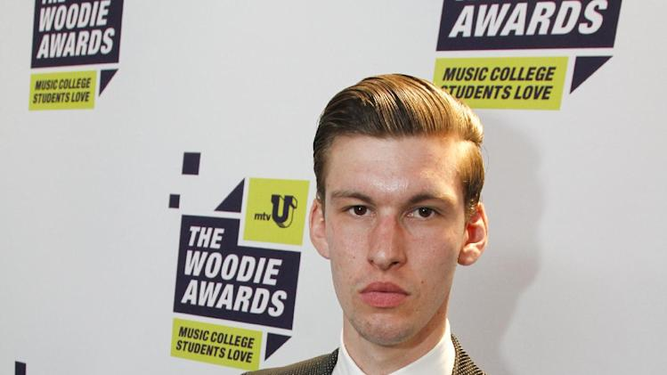 Willy Moon poses backstage at the mtvU Woodie Awards on Thursday, March 14, 2013. (Photo by Jack Plunkett/Invision for MTV/AP Images)