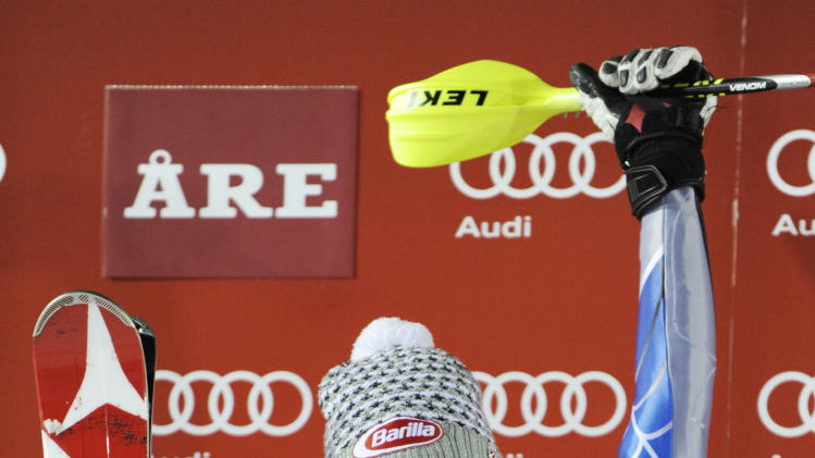 Mikaela Shiffrin, of the United States, celebrates winning an alpine ski, women's World Cup slalom, in Are, Sweden, Thursday, Dec. 20, 2012.  (AP Photo/Giovanni Auletta)