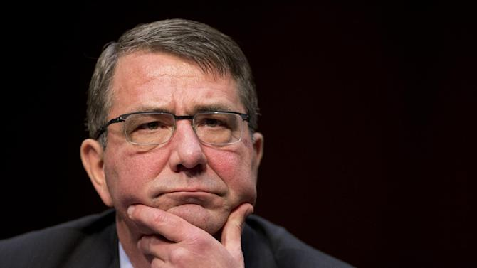 Defense Secretary Ash Carter testifies on Capitol Hill in Washington, Tuesday, March 3, 2015, before the Senate Armed Services Committee hearing to review the defense authorization request for fiscal 2016 and the future years defense program.   (AP Photo/Manuel Balce Ceneta)