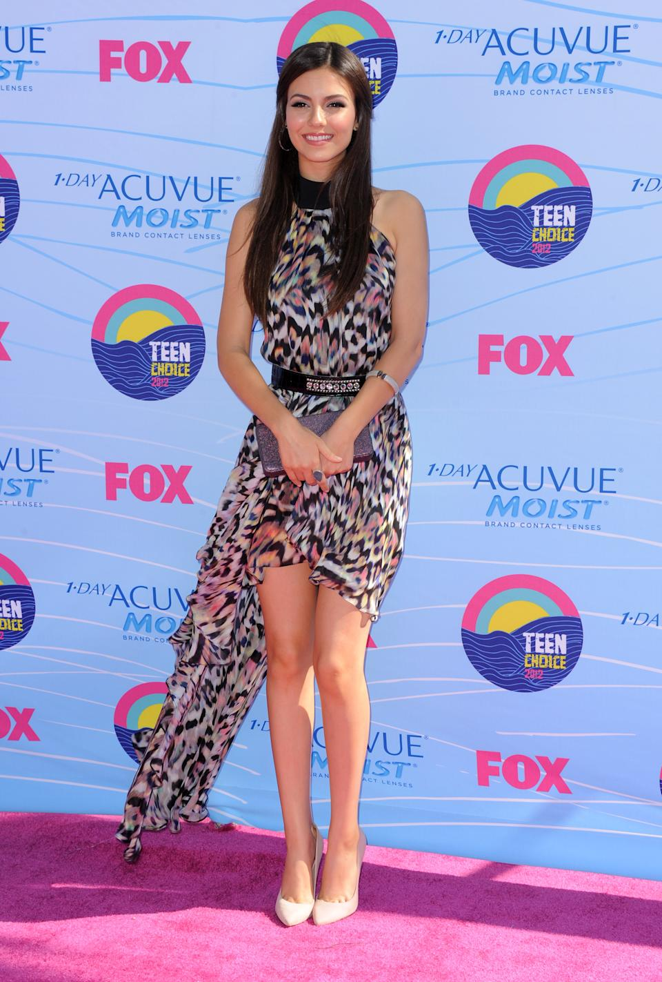 Victoria Justice arrives at the Teen Choice Awards on Sunday, July 22, 2012, in Universal City, Calif. (Photo by Jordan Strauss/Invision/AP)